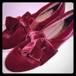 Sam Edelman Pink velvet Bow Shoes size 11 NEW